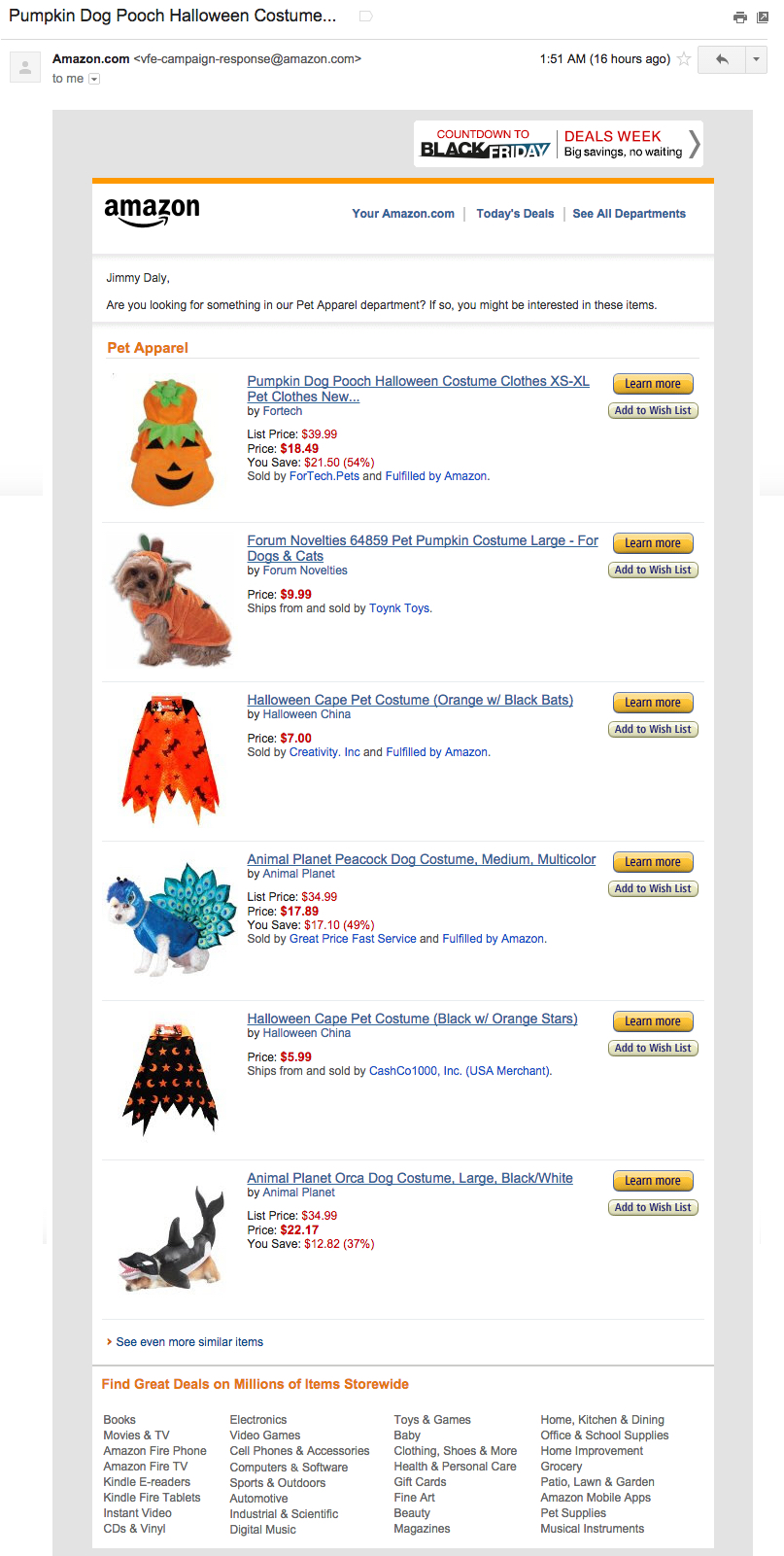 Images shows Amazon product list