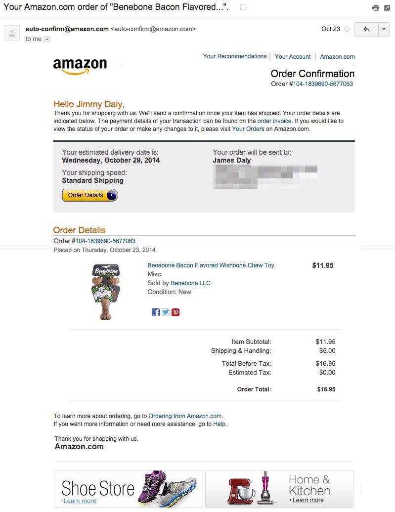 Image shows email receipt
