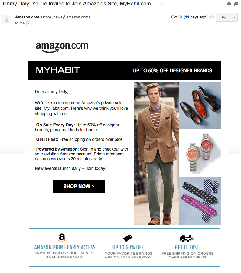 Amazon Invitation email is shown in this picture