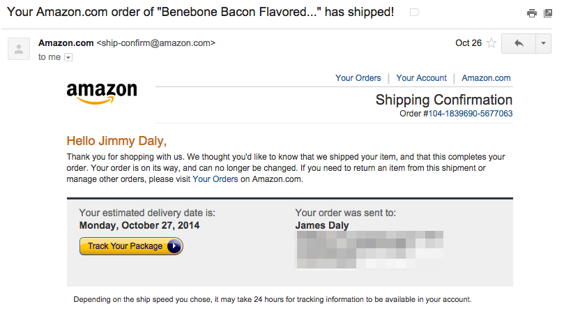 Image shows amazon shipping confirmation